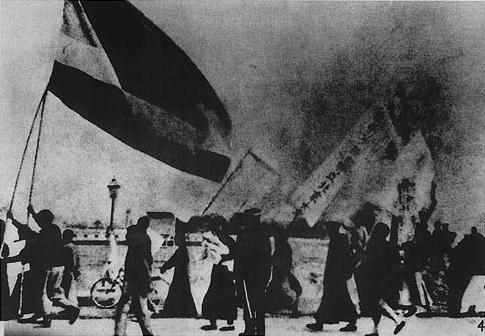 Students in Beijing rallying during the May Fourth Movement, 1919.