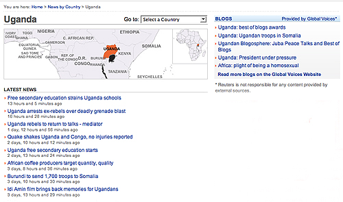 Screenshot of Reuters Africa page on Uganda