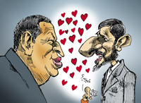 Cartoon of Chavez and Ahmadinejad by Nikahang