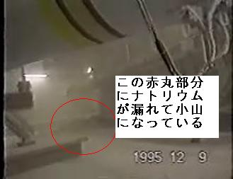 Snapshot from Monju leak video showing pile of sodium