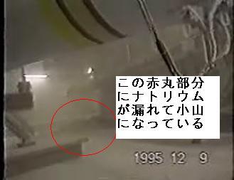 Snapshot from Monju leak video showing pile of sodium