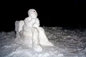 Snowman in Repose by An American in Jordan