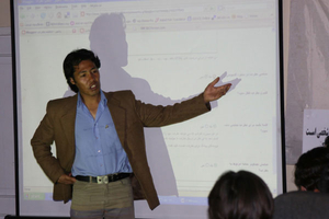 Nasim Fekrat at the Afghan blogging workshop