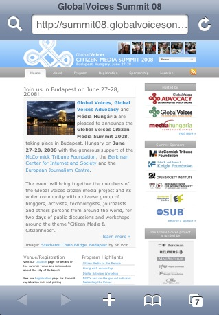 Фотографија од сајтот на самитот на граѓански медиуми на Глобал војсис 2008