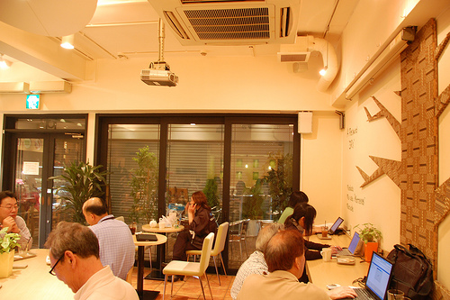 Inside Linacafe with shutters closed