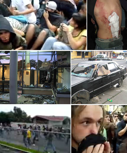 Image composite of riots in San José, Costa Rica