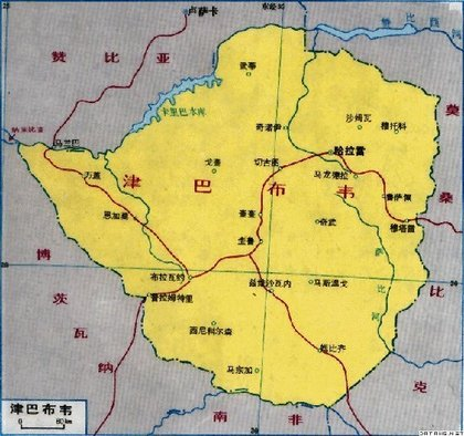 Мапа на Зимбабве