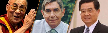 Dalai Lama, Oscar Arias, Hu Jintao