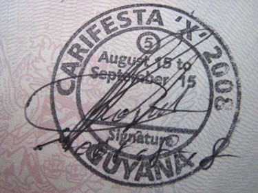 The special immigration stamp for visitors to Carifesta X in Guyana