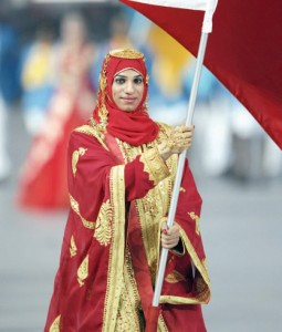 Ruqaya Al Ghasra at the Beijing Olympics Opening Ceremony