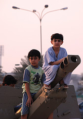 Children on a Ramadan Cannon in Qatar