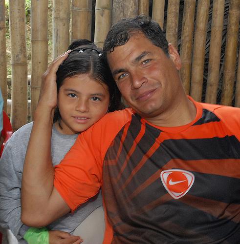 President Correa While Visiting El Carmen, Manabí-Ecuador