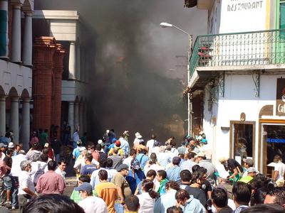 Foto de los disturbios en Santa Cruz. Tomada por Julio Ricardo Zuna Cossio y usada con su permiso.