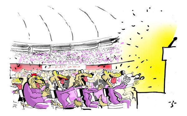 Caricatura di cani alle celebrazioni per il 21° anniversario del 'cambiamento' in Tunisia