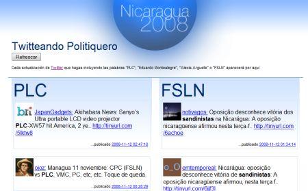 Schermata dell'applicazione Twitter dedicata alle elezioni in Nicaragua
