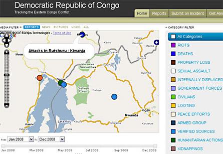 Mappa della RDC realizzata con Ushahidi