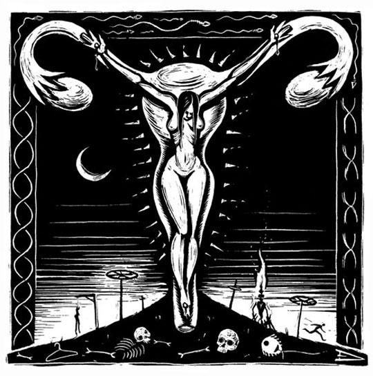 A Mulher Crucificada, por Eric Drooker. Usada sob permissão.Todos os direitos reservados.