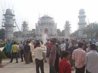 visitors gathering in front of false Taj