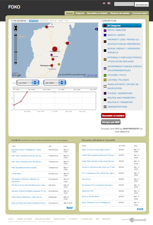 This is a screenshot of the new Ushahidi SMS reporting platform for Madagascar.