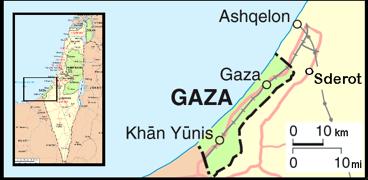 Мапа од конфликтот во Газа