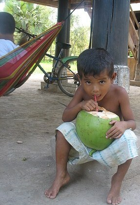 Cambodian boy with coconut