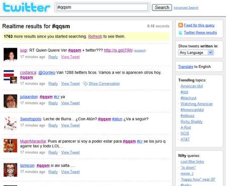 Messaggi su Twitter con l'hashtag #qqsm in Costa Rica