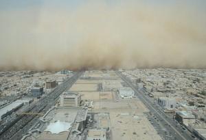 The sandstorm raging in the horizon