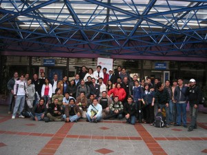 Group of participants in the BarcampEc outside CATO. Photo by Carlos Correa and used under Creative Commons.http://www.flickr.com/people/calu777