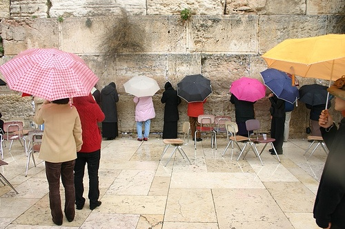 Rain at the Western Wall (credited to Flash 90 at the Green Prophet)