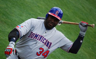 Photo of Dominican slugger David Ortiz taken by James W Carras and used with permission. http://www.flickr.com/photos/rsnlaud/