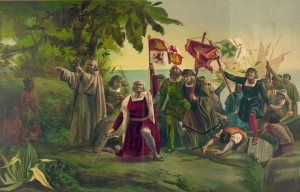 First Landing of Columbus on the Shores of the New World. Painting by Discoro Téofilo de la Puebla.
