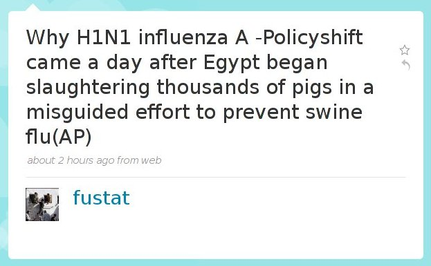 "@Fustat asking why ""Swine flu"" has been named to H1N1"