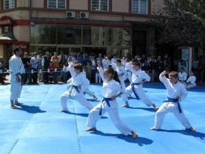 Kids performing karate kata during Sakura celebration in Skopje, Macedonia. April 25, 2009. Photo by Irena Efremovska.