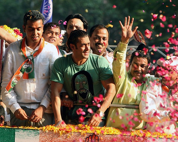 Salman Khan (center), a Bollywood super star, campaigns in support of Congress party candidate Milind Deora at a rally in Mumbai.