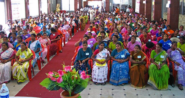 A rainbow of colours of rural women and men gathered as volunteers for social mobilisation and development in their villages.