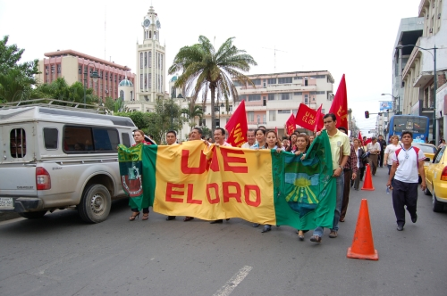 Unionized teachers marching for a salary increase on the streets of Machala, province of El Oro, Ecuador. Photo used under permission by http://www.diariocorreo.com.ec