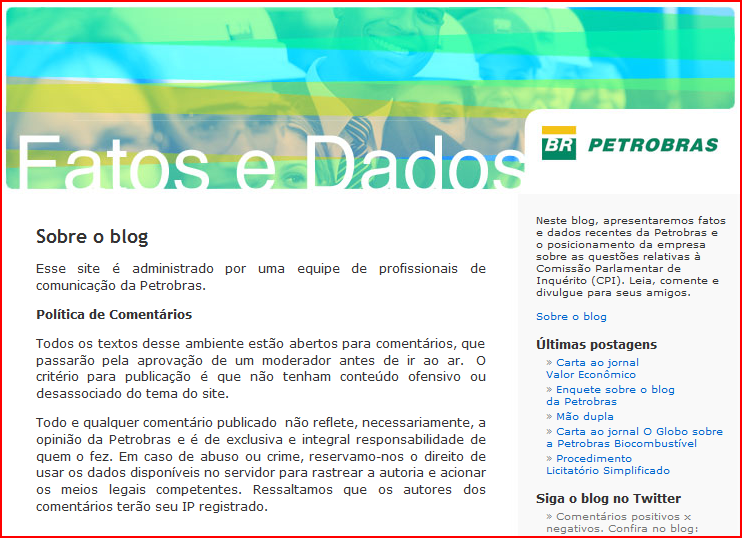 Petrobras blog is hosted in a WordPress.com site.