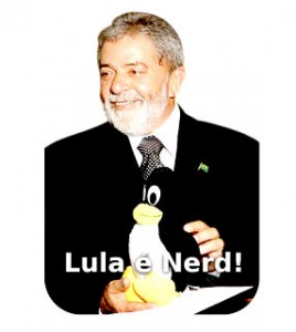 """Lula is nerd"" – This photo illustrated a newsletter circulated by the organizers of FISL"