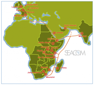 Seacom connects the eastern African coastline to Europe and Asia
