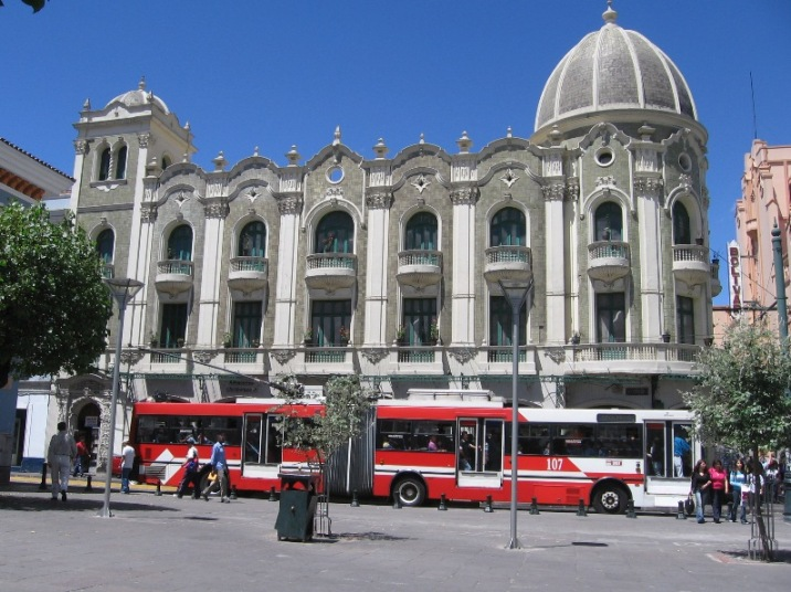 Trolley service through Guayaquil St in Quito, nearby the Plaza Grande.  Photo credit to Wikimedia Commons