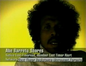"Abe Barreto Soares testimony in Stephen Marshall's documentary ""Blackout East Timor"" (8' 