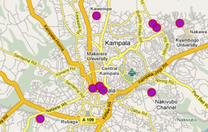 Screenshot from UgandaWitness.net showing where riots have been reported.