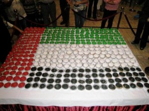 The House of Cupcakes created this 500-cupcake masterpiece for the 37th National Day of the UAE celebration