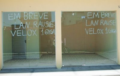 "In this upcoming lan house, the spelling has been adapted to ""lan rause"" to help with the pronunciation in Portuguese"