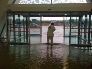 Marrakesh airport under water
