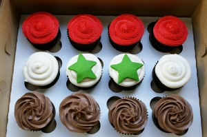 Syrian flag cupcakes by Canadian bakery cococakes