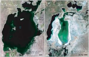 Satellite pictures of Aral Sea, Kazakhstan and Uzbekistan 1973/2004