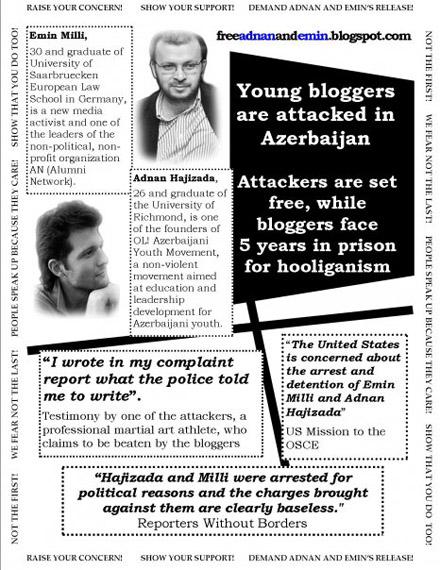 Poster sul processo ad Adnan Hajizade e Emin Milli