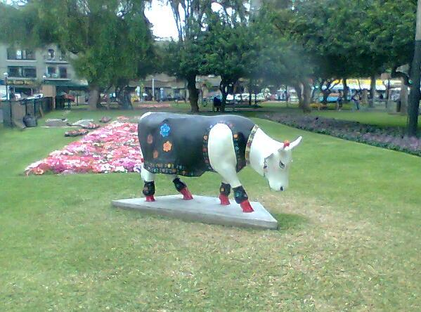 Cow exhibited at Parque Kennedy