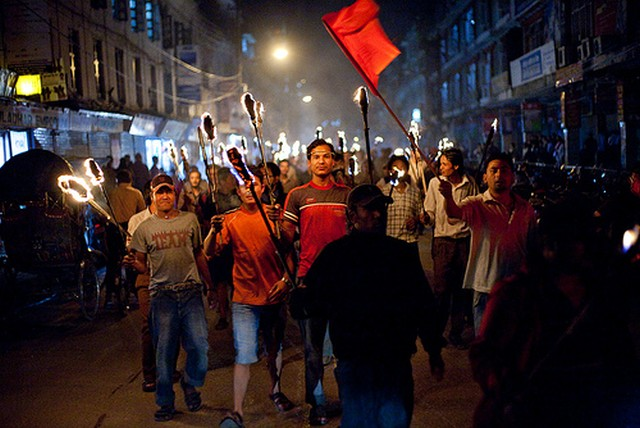 Maoist night protest. Image by Flickr user izahorsky. Used under a creative commons license